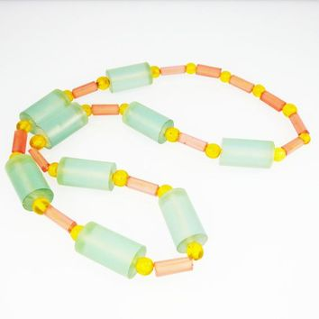 Retro Chunky Plastic Beaded Necklace, Large and Small Cylinder w/Ball Beads, Green, Pink and Yellow, Opera Length, Vintage 60's 70's