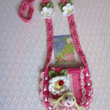 Crochet girls purse with doll clip on... Hot Pink pouch with flowers and ladybug... Crochet girls  handbag