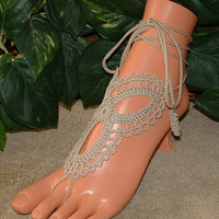 Crochet Tan Khaki Barefoot Sandal, Sandals, Shoe Accessories, Footless, Bottomless, Infinity, Jewelry, Anklet, Bracelet