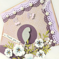 Bird House Card, Shabby Chic, Thank you, Lavender and Lilac