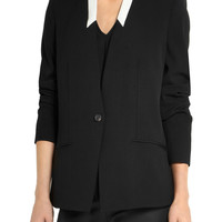Helmut Lang Two-tone crepe blazer – 60% at THE OUTNET.COM