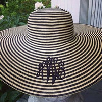 Monogrammed Striped Floppy Beach Hat