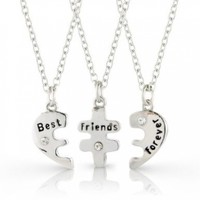 RevoLity Best Friends Forever Three Part Necklace Friendship Necklace Includes Beautiful Gift Bag for Each Necklace