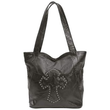Design Genuine Leather Purse with Studded Cross