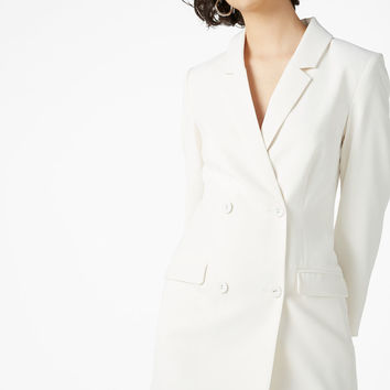 Long blazer dress - Old ice white - Dresses - Monki IT