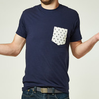 Cream Ikat Print Pocket on Navy Tee
