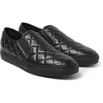 Balmain - Quilted Leather Slip-On Sneakers   MR PORTER
