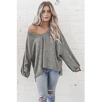 Cozy Up Gray Long Sleeve Sweater