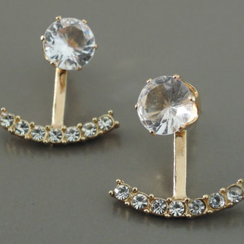 Ear Jackets - Crystal Ear Jackets - Gold Ear Jackets - Stud Earrings - Bridal Earrings - Trending Earrings