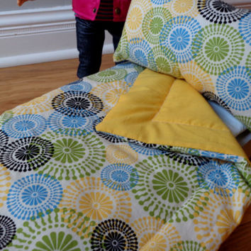 Multi Colored Swirls & Yellow American Girl and 18-inch Doll Bedding Set
