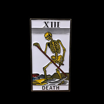 "Death Tarot Card Soft Enamel Pin 1.75"" x 1"" Black Number 13 XIII Major Arcana"