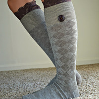 Lace Trim Long socks, Button Lace socks