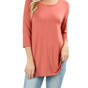 40a8f9eb254bf Women Boat Neck 3 4 Sleeve Rayon Draped Dolphin Hem Tunic T-Shirt Top