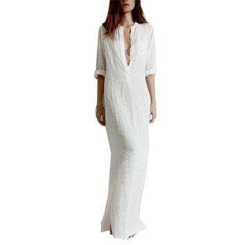 Sexy Fashion Vestidos Summer Women Sexy Casual Dress Long Sleeve Deep V Neck Linen Split Solid Long Maxi Dress Plus Size