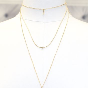 Three Layer Thin Necklace