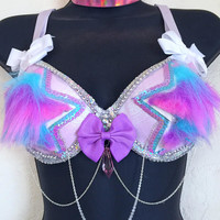 LED Unicorn Pastel Stars Bra: rave bra, halloween, costume, edm, festival, edc outfit, cowgirl, pink, electric forest, glow, fur bra