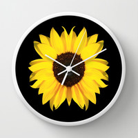 colored summer ~ sunflower black Wall Clock by Steffi ~ findsFUNDSTUECKE