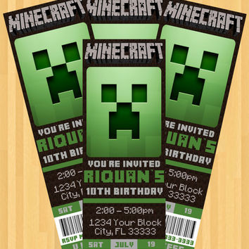minecraft party invitation ticket style from dcharmzdesigns on