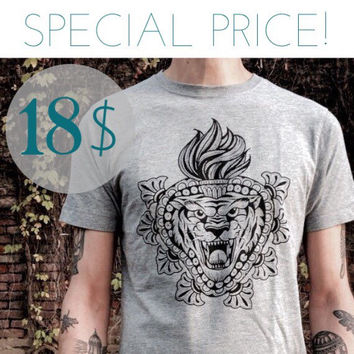 SPECIAL PRICE! men's t-shirt with Tiger and sacred heart print. Color melange grey, high quality tee for HIM. Screenprinted handmade design