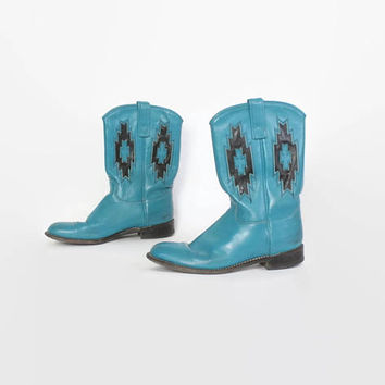 Vintage 80s COWGIRL BOOTS / 1980s Turquoise & Black Leather SW Cut-Out Cowboy Western Boots 7 1/2