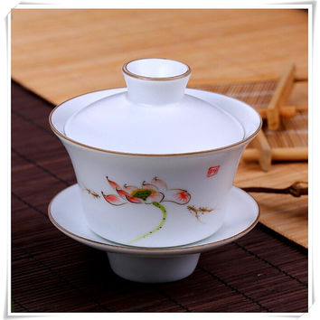 Famille Rose Porcelain Gaiwan Tea Cup with Hand Painted Lotus Flowers, Wedding Giftware