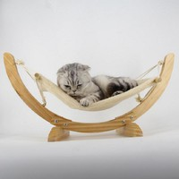 Natural Wooden Handmade Cat Bed Cat Hammock Cradle Mat Swing Dog Bed Puppy Blanket Pet Bed Pet Product Cat Toy Sleeping Hammock