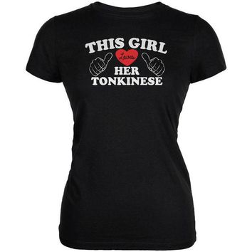 DCCKJY1 Valentines This Girl Loves Her Tonkinese Black Juniors Soft T-Shirt