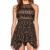 Free People Open Side Printed Romper in Black