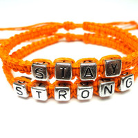 Stay Strong Bracelet Set, Bright Orange Macrame Hemp, Recovery Jewelry - Ready to Ship - Black Friday Cyber Monday Sale