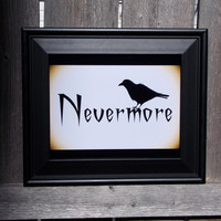 Poe Nevermore Typography Print. The Raven Literature Art, 8x10 Art Print.
