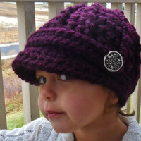 Baby Visor Hat with Buttons Plum MADE TO by SoLaynaInspirations