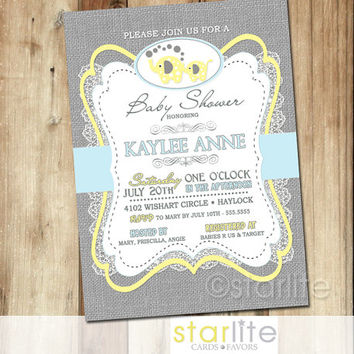 Elephant Baby Shower Invitation - blue yellow gray burlap lace - 5x7 retro vintage style, typography, unique shower invitation - You Print