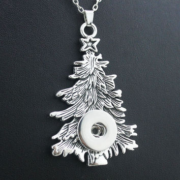 2016 metal ginger snap button jewelry Christmas Tree pendant Necklace for women NE419 (fit 18mm snaps) men's Vintage accessories