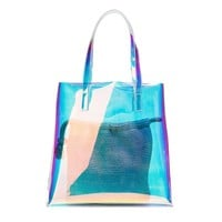 New Arrival Female Hologram Laser Tote Bag Composite Bag Women Brief Casual Laser Holographic Handbag Transparent Beach Bag