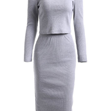 Cold Shoulder Knitted Long Sleeve Top and Pencil Skirt Twinset