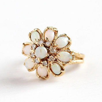 Opal & Diamond Ring - Vintage 14k Yellow Gold Harem Princess - Size 5 Retro Cluster Raised Tiered Gemstone Statement Fine Jewelry