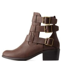 Brown Belted Cut-Out Ankle Booties by Charlotte Russe