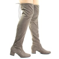 Jupiter Taupe By Soda, Top Tie, Over Knee, Thigh High, Block High Heel Pull On Slouch Boots