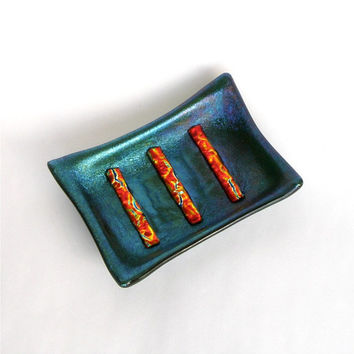 Soap Dish - Fused Glass Dish - Dark Green Glass with Orange Gold Dichroic Stripes - Handmade Bathroom Decor