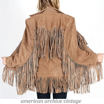 Vintage 70s Tan SUEDE Leather FRINGE coat jacket motorcycle festival boho hippie M