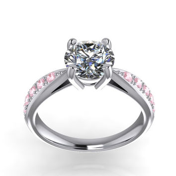 Solitaire With SideS  Diamonds3D CAD STL File Format Ring -JT29S