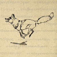 Running Fox Digital Printable Download Animal Illustration Image Graphic Vintage Clip Art for Transfers etc HQ 300dpi No.878