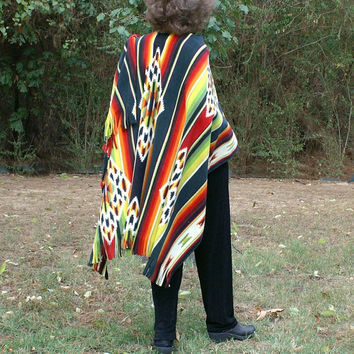 Native American Design Anti Pill Fleece Poncho, Shawl or Wrap with Fringe--One Size Fits Most