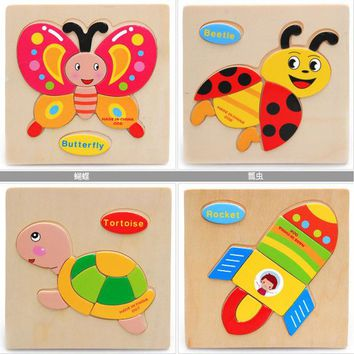 DCCKL72 1 Pcs 28 Animals Fruit Shapes Jigsaw Hot Wooden Toys for Children Baby Intelligence Educational Toys Cartoon Fallout Toy Puzzle