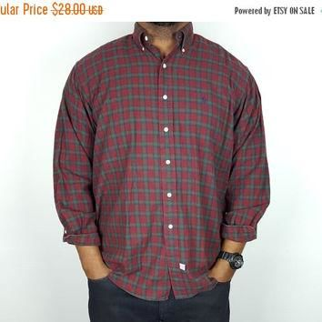 SALE L Vintage 90s Plaid Shirt Button Down Ralph Lauren Polo / Red and Green Oxford S