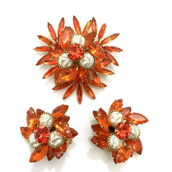 Judy Lee Floral Rhinestone Demi, Brooch & Earring Set, Orange Navette, Marquis, and Round Cuts Stones, Faux Pearls, Vintage Designer Signed