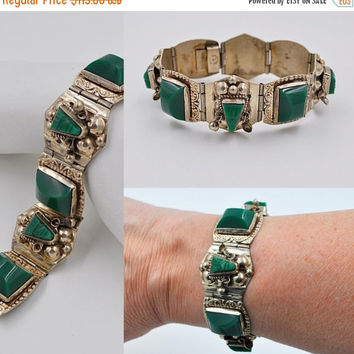 ON SALE Vintage Taxco Mexico Sterling Silver & Green Onyx Link Bracelet, Early, Mexican, Tribal Mask, 1940's, Chunky, Beautiful! #b278