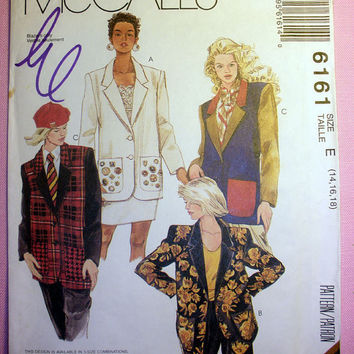 Women's Unlined Jacket Misses' Size 14, 16, 18 McCall's 6161 Sewing Pattern Uncut