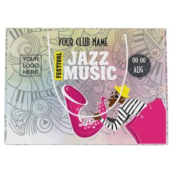 Colorful Jazz Music Festival add logo personalized Large Gift Bag