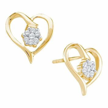 10kt Yellow Gold Women's Round Diamond Cluster Heart Screwback Earrings 1-6 Cttw - FREE Shipping (USA/CAN)